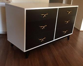 White & Black  Mid Century Modern Dresser, Chest of Drawer, Credenza