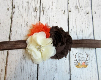 Brown Orange Cream Fall Headband - Baby Headband -  Newborn Photo Prop Toddlers Girls Women - Fall Wedding - Harvest