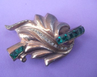 Exquisite Art Deco Sterling Crystal Brooch c 1940s