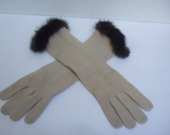 Mink Trim Tan Wool Knit Gloves