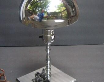 Sleek Art Deco Chrome Scottie Dog Dimunitive Lamp c 1950