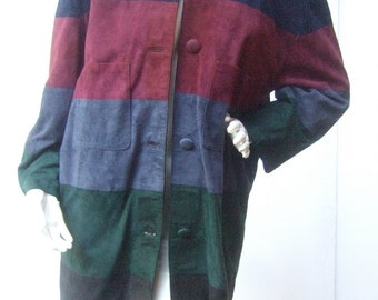 Italian Suede Striped Panel Coat by Gianni Versage c 1980s
