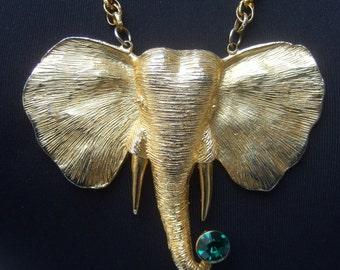 Exotic Huge Scale Gilt Metal Elephant Pendant Necklace c 1970s
