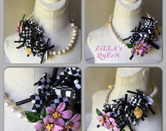 Flower Brooch Cluster Stick Checkered Fish Pearl Pearl Statement Necklace Jewelry by ZILLAS QUEEN