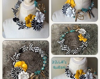 Flower Cluster Brooch Turquoise Black White Gold Statement Necklace Jewelry by ZILLAS QUEEN