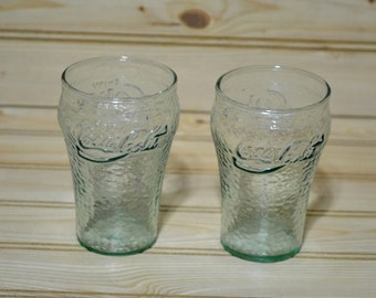 Vintage  Coca Cola Coke Textured Juice Glasses Set of 2 Collectible Advertising Miniature Mini