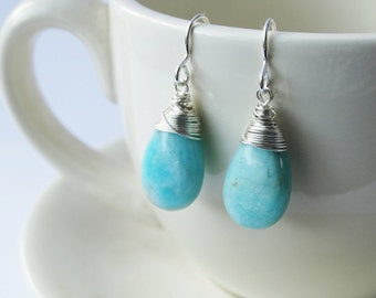 Amazonite & Silver Drop Earrings - Sterling Silver