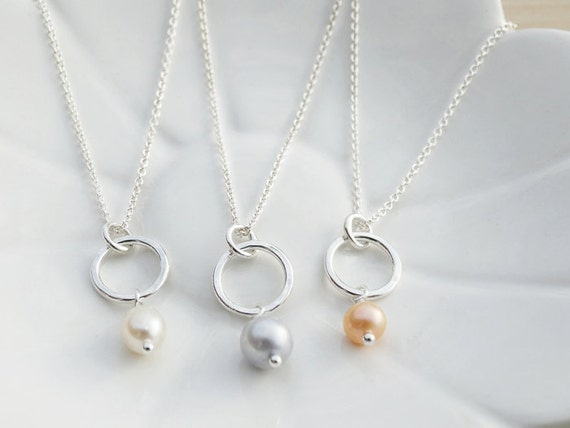 Little Silver Hoop & Pearl Necklace - Sterling Silver