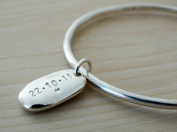 Solid Silver Bangle & Personalised Pebble - Sterling Silver