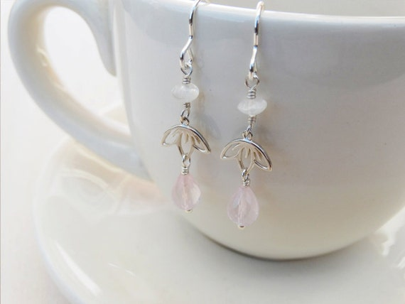 Silver Cherry Blossom Earrings With Rose Quartz & Rainbow Moonstone - Sterling Silver