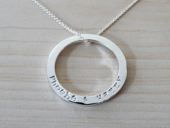 Silver Circle Necklace With Hand Stamped Names - Shiny Finish - Sterling Silver