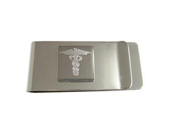 Engraved Caduceus Medical Symbol Money Clip