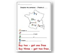 French Worksheet - Kids Learning Sheet - Where do I live? - Kids Activities - Printable Kids Activity - Teachers Resource - Lesson Plans