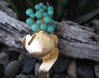 Vintage Gold Tone Flower Spray Brooch with Faux Jade Green Glass Accents