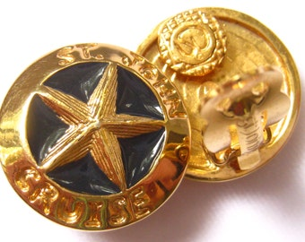 """CLEARANCE ST. JOHN Cruise Wear Earrings. Button Style with Raised Star Center, Midnight Blue Background & Gold Rims with """"St. John Cruise""""."""