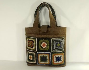 Granny Square Tote, Crochet Wool, Quilted, Box of Chocolates Collection