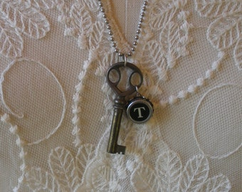 Typewriter Key Necklace -- With Vintage Skeleton Key and Your Choice of Letter --