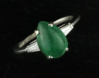 Art Deco Platinum Pear Cut Emerald and Diamond Engagement Ring