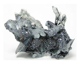 Hematite Shiny Steel Gray Metallic Crystal Cluster, Mineral Specimen from Morocco,  Nature's Sculpture