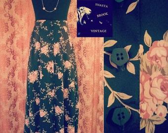SALE 90s Black and Pink Rose Prairie Skirt - Vintage Floral Buttondown Skirt - 90s Grunge Revival Skirt - Womens XS Small 26 Waist