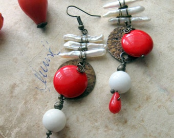 Japanese style Wire Wrapped Bohemian Brass Earrings - Red and white - coral and pearls dangle earrings