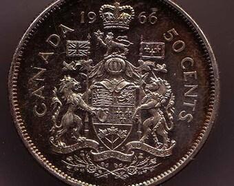 1966 Canada silver Half Dollar 50 Cent Pieces