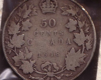 Canada Silver Coin 1918 50 cents .925 Sterling Silver