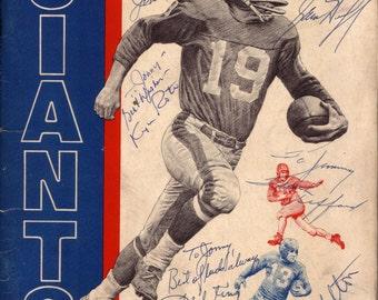 Vintage NFL Autographs New York Giants Yearbook  Stars  Frank Gifford, Joe Walton, Phil King, Darnell Dess, Steve Van Buren, Sam Huff