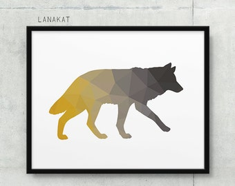 Mustard Grey Wolf Print. Triangle Geometric Print. Wolf Wall Art. Woodland Animal Print. Mustard Yellow Gray. Nursery Home Decor. Printable
