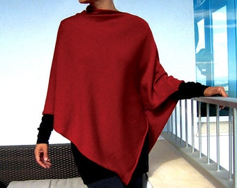 Cardinal red 100%cashmere poncho