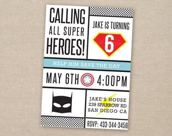 superhero invitation - super hero party - superhero birthday invitation - printable birthday invitation
