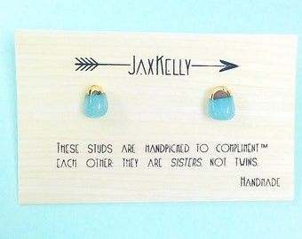Amazonite Gold Dipped Studs