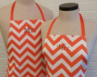 Orange Chevron Mr & Mrs Apron Set, Pocket, FREE Shipping - Orange White Stripe, Husband Wife Cooking Aprons, Kitchen Gift, Made USA