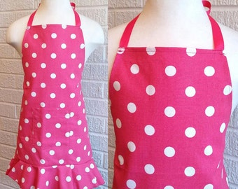 Child's Hot Pink Dot Apron with Pocket and Ruffle - Can be Personalized, Free Shipping, Made in The USA