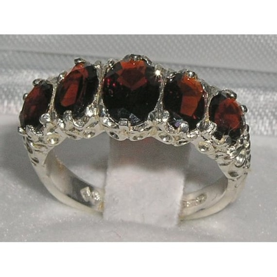 English 925 Sterling Silver Genuine Natural Garnet Classic 5 Stone Half Eternity Band, Antique Style Carving Ring - Customize: 9K,14K,18K