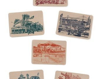 Icons of Portland, Oregon Postcards - Set of 6 Cards
