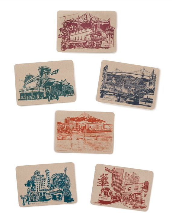 Icons of Portland, Oregon Postcards - Set of 6 Cards