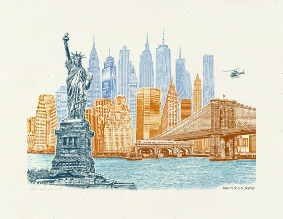 New York City Skyline - Art Print of NYC, New York - 8.5x11, 11x14, and 16x20 Poster