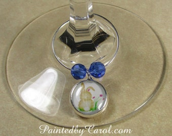 Bunny Wine Charms - Easter Bunny, Rabbit, Hare, Set of 6 Wine Charms