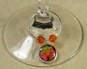 Autumn Pumpkin and Leaves Wine Charms