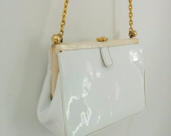 50s Koret Bag White Patent Leather with Gold Chain and Change Purse