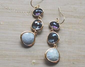 Triple Stone Dangle Earrings // Purple, Charcoal, Labradorite // Glass Stone Earrings // Fall Style