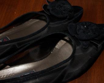 Vintage Prevata Black Suede Shoes Women's Size 7 Shoes Ladies Dress Shoes Italian Designer  Leather Shoes Wedding Shoes Black Mesh Shoes