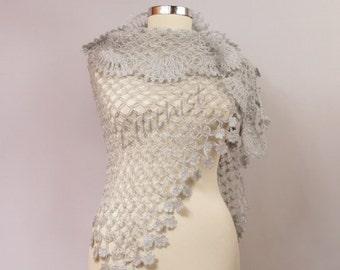Wedding Shawl, Grey Shawl, Bridal Shawl Wrap, Crochet Shawl, Bridal Shrug Shawl Bolero, Wedding Cover Up, Bridesmaid Shawl, Evening Shawl