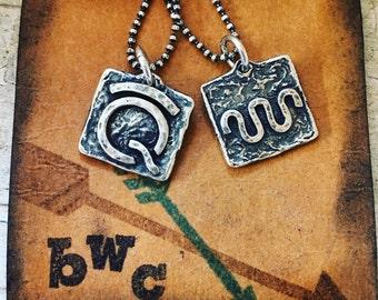 Custom, cowgirl, brand, ranch, rustic, Sterling, pendant