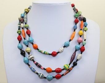 Multi Color Paper Beads Necklace. Extra Long Lariat. Papier Mache Beads. Ethnic Style. Hand Rolled. Paper Marche PS008. MapenziGems