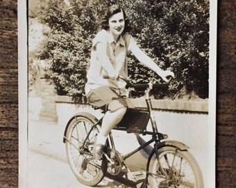 Original Vintage Photograph Girl on Bike