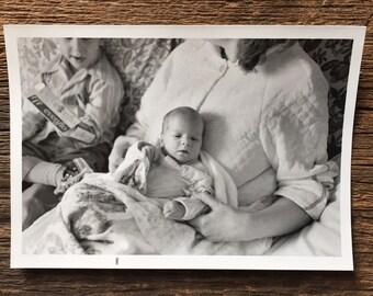 Original Vintage Photograph Big Brother, Baby Brother