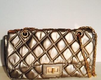 Silver mettalic hand bag
