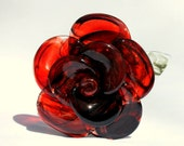 Red with Black Accents Glass Rose